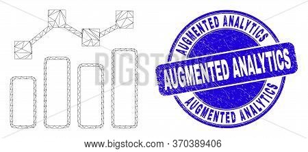Web Mesh Trend Chart Icon And Augmented Analytics Watermark. Blue Vector Round Scratched Watermark W