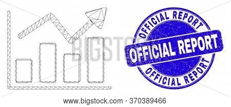 Web Carcass Trend Chart Pictogram And Official Report Stamp. Blue Vector Round Scratched Stamp With