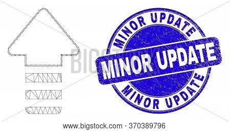 Web Mesh Update Arrow Icon And Minor Update Stamp. Blue Vector Round Grunge Stamp With Minor Update