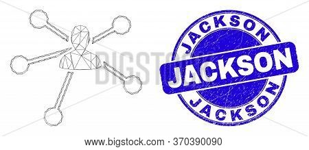 Web Mesh User Links Icon And Jackson Seal Stamp. Blue Vector Round Distress Seal Stamp With Jackson