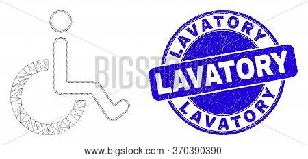 Web Carcass Wheelchair Icon And Lavatory Watermark. Blue Vector Round Scratched Seal With Lavatory T