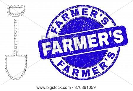 Web Mesh Shovel Pictogram And Farmers Watermark. Blue Vector Round Distress Watermark With Farmers T