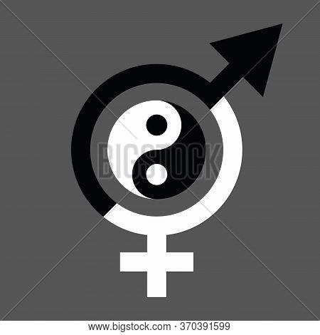 Vector Gender Equal Sign Icon. Men And Women Equality Concept Icon Black And White Color With Yin Ya
