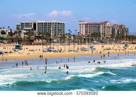 June 7, 2020 In Huntington Beach, Ca:  Contemporary Style Hotel Resorts Besides The Sandy Beach And
