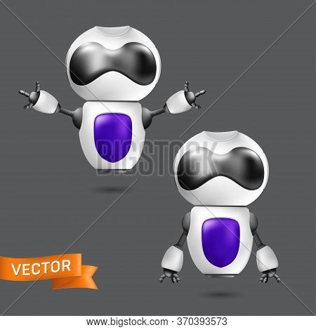 Flying Chatbot Or Robot Virtual Assistance. Vector Illustration Of A Cute White Robot With Hands. Ar