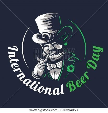 Dwarf With A Smoking Pipe. Vector Elf Or Leprechaun Character Illustration On A Black Background To