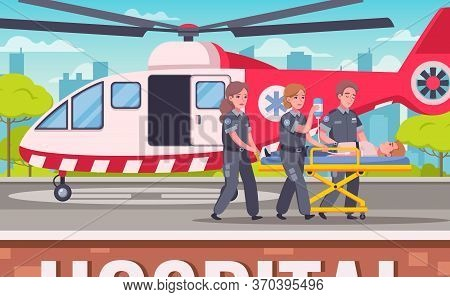 Paramedic Emergency Ambulance Cartoon Set With Helipad Scenery And Helicopter With Doctors Team Cart