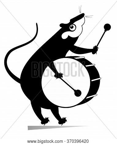 Funny Rat Or Mouse A Drummer Isolated Illustration. Cartoon Rat Or Mouse Beats A Big Drum Using Drum
