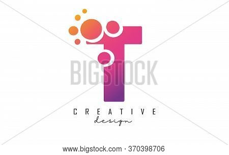 T Letter Logo With Blue Dots Design. Letter T Logotype With Bubbles Bunch. Corporate Branding Identi