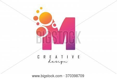 M Letter Logo With Blue Dots Design. Letter M Logotype With Bubbles Bunch. Corporate Branding Identi
