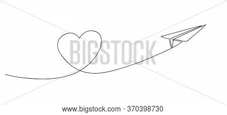 Heart Symbol And Paper Airplane. Love Voyage And Travel Concept. Continuous Line Art Drawing Vector
