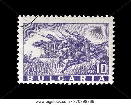 Bulgaria - Circa 1946 : Cancelled Postage Stamp Printed By Bulgaria, That Shows Cavalry Charge, Circ