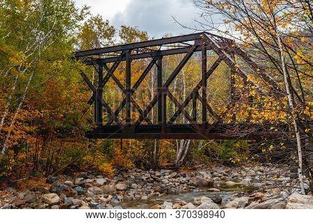 Steel Truss Railway Bridge Across Sawyer River At Bears Notch On Kancamagus Highway, New Hampsire Us