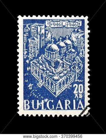Bulgaria - Circa 1946 : Cancelled Postage Stamp Printed By Bulgaria, That Shows Rila Monastery, Circ
