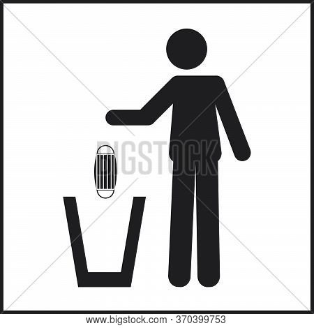 Icon Pictogram Of A Person Throwing A Face Mask In A Trash Can. Coronavirus, Covid-19 Virus Waste. F
