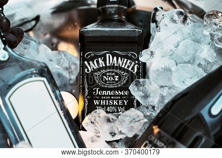 Jack Daniel's Whiskey No 7 In A Bucket Of Ice And Other Liquor . Jack Daniel's Is A Brand Of Sour Ma
