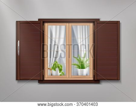 Brown Wooden Old Window Realistic Composition With Cozy Atmosphere Inside Beautiful Curtains And Pot