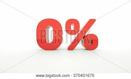 Red Text Zero 0 Percent Off On White Background With Reflection. 0% Red Digit, Symbol. 3d Render.