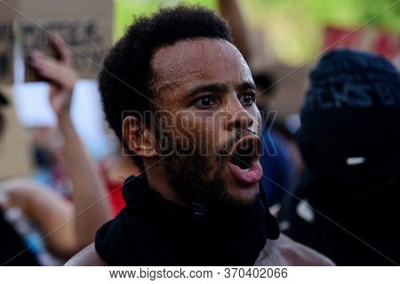 Miami Downtown, Fl, Usa - May 31, 2020: George Floyd Protests In South Florida. Peaceful Marches, Cl