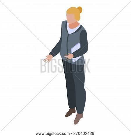 Notary Woman Icon. Isometric Of Notary Woman Vector Icon For Web Design Isolated On White Background