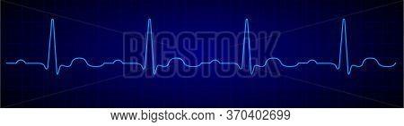 Heartbeat Line. Blue Electrocardiogram. Medical Cardiogram On Grid Background.