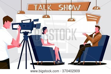 Talk Show Flat Composition With Indoor Scenery Of Television Studio With Tv Host Guest And Cameraman
