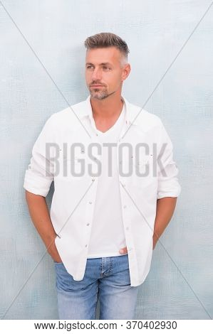Mature Man Wear Casual Clothes. Barber Hair Care. Sexy Adult Man. Handsome Man With Unshaven Face. C
