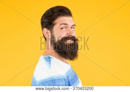 Just Smile. Brutal Bearded Man On Yellow Background. Male Summer Fashion. Mature Hipster Has Perfect