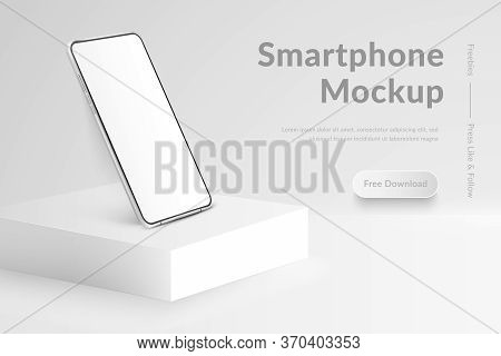 White Realistic Smartphone Mockup On Square Podium. 3d Mobile Phone With Blank White Screen. Modern