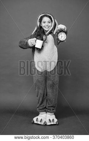 Drinking Coffee Energy. Bunny Kid Red Background. Baby Animal. Counting Time. Morning Routines. Ador