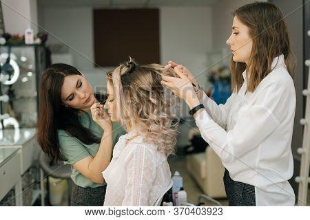 Professional Female Hairdresser Make-up Artist Making Hairstyle Caucasian Model Blonde In Dressing R