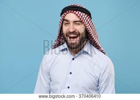 Cheerful Bearded Young Arabian Muslim Man In Keffiyeh Kafiya Ring Igal Agal Casual Clothes Posing Is