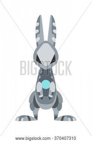 cartoon mechanical robotic rabbit. Toy androids with artificial intelligence, pet for games. Creature produced by people. Futuristic artificial pet friend technology