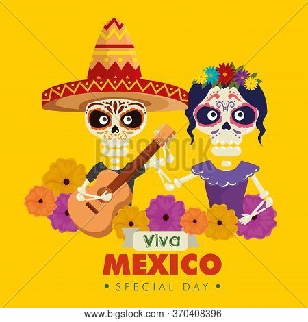Catrina And Skeleton Man Wearing Hat With Guitar And Flowers Vector Illustration