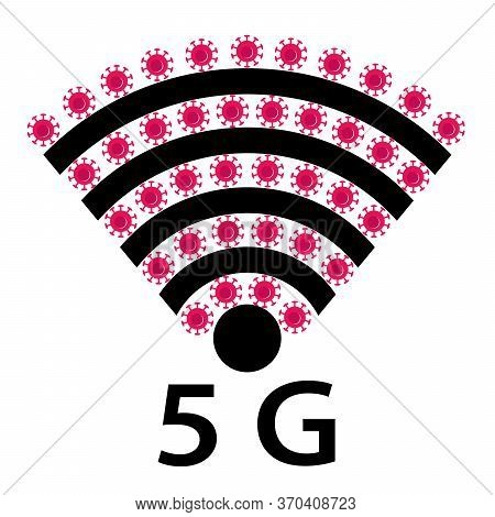 Vector Icon Design Of Coronavirus 5g Zone Concept On White Background. Conspiracy Theorists Attacked