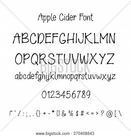 Hand Drawn Font With Numbers And Punctuation Isolated On White