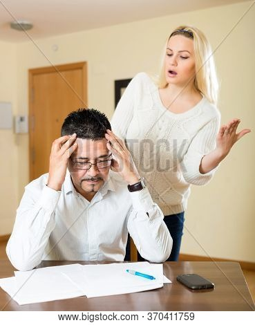 Heterosexual Couple Arguing Because Of Financial Difficulties