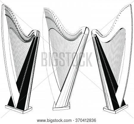 Harp Classic Musical Instrument Vector 02. Illustration Isolated On White Background. A Vector Illus