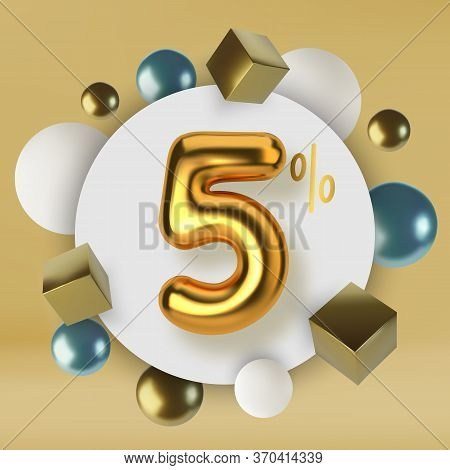 5 Off Discount Promotion Sale Made Of 3d Gold Text. Number In The Form Of Golden Balloons.realistic