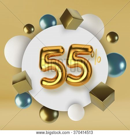55 Off Discount Promotion Sale Made Of 3d Gold Text. Number In The Form Of Golden Balloons.realistic