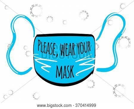 Stock Vector Illustration Of Facial Medical Mask For Flu For Protection Against Coronavirus During A