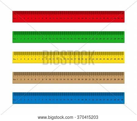Ruler With Measure Of Inch, Mm, Cm. Wooden, Metal Scale With Metric For School. Stationery For Class