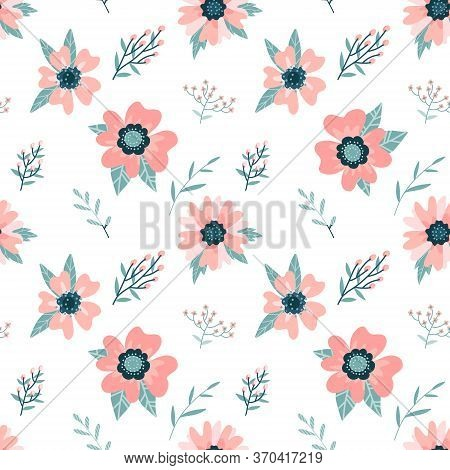 Dog-rose Branch With Flowers And Leaves Background. Floral Seamless Pattern. Rose Hips Petals. Wild