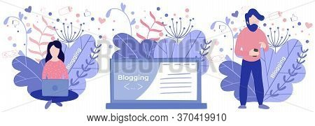 Blogger Woman, Freelancer. Blogging Miniature Illustration Make Review And New Content. Bloggers Web