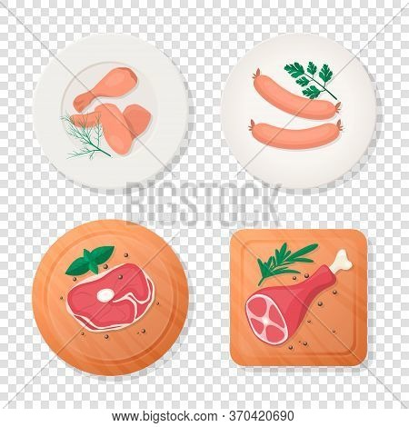 Vector Fresh Pieces Of Raw Meat, Chicken Wing, Drumstick, Sausage, Tenderloin Fillet, Ham, Greens On