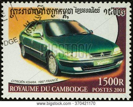 Moscow, Russia - June 08, 2020: Stamp Printed In Cambodia Shows Car Citroen Xsara (1997), Series Car
