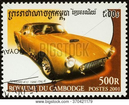 Moscow, Russia - June 07, 2020: Stamp Printed In Cambodia Shows Old Car Ferrari 410 (1956), Series C