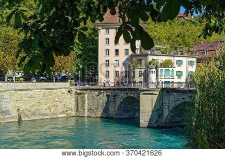 Bern, Switzerland - August 25, 2019: The View Of Untertor Bridge, Lower Gate Bridge, Over The Aare R