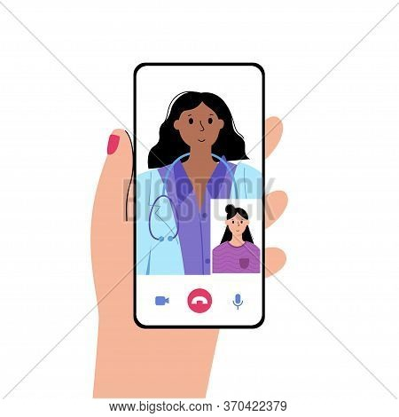 Hand Holds A Smartphone With Online Clinic App. Specialist Is Ready To Consult A Patient Via Phone.