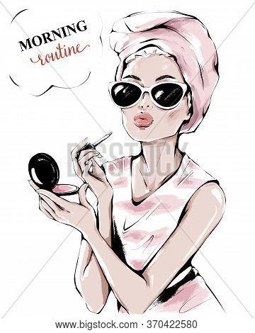 Hand Drawn Beautiful Young Woman In Sunglasses. Fashion Woman Painting Her Lips. Fashion Girl Making